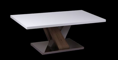 White high gloss coffee table with wood effect base