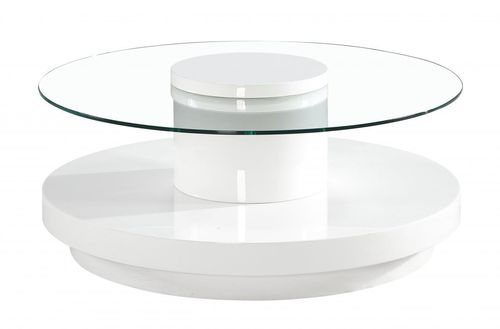 Round white high gloss coffee table with glass top
