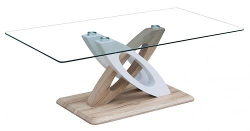 Glass and natural wood effect coffee table