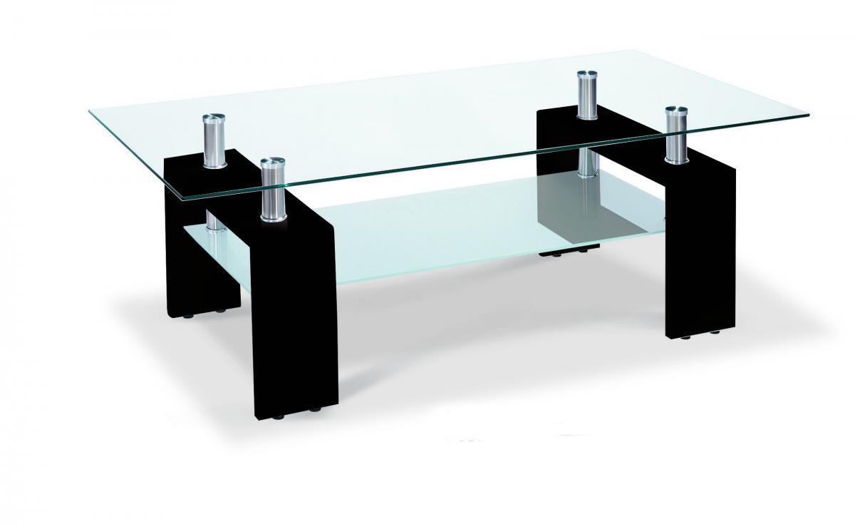 Picture of: Glass Coffee Table With Black High Gloss Legs Homegenies