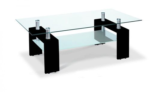Glass coffee table with black high gloss legs