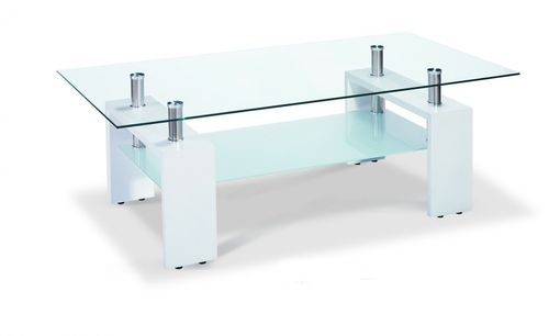 Glass coffee table with white high gloss legs