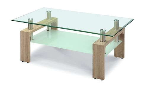 Glass coffee table natural wood effect legs