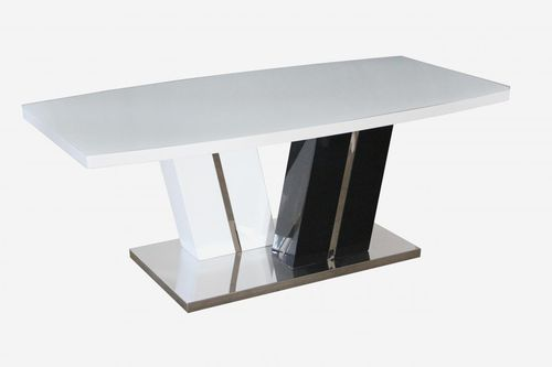 White Glass coffee table with white and black high gloss base