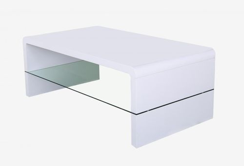 White high gloss coffe table with clear glass shelf