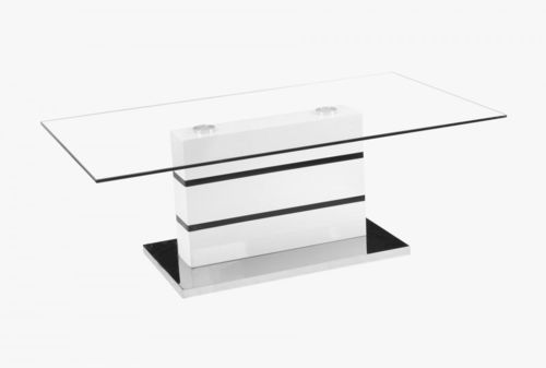 Glass top white high gloss coffee table