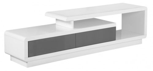 White and grey high gloss tv unit