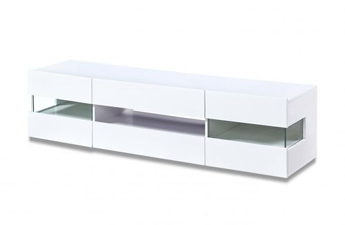 White high gloss tv unit with LED lighting