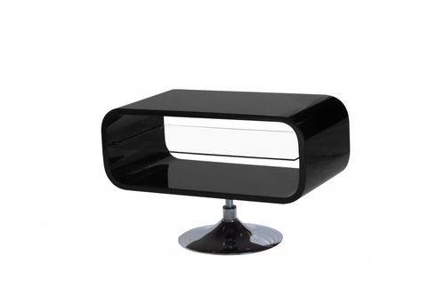 Black high gloss tv unit with glass shelf