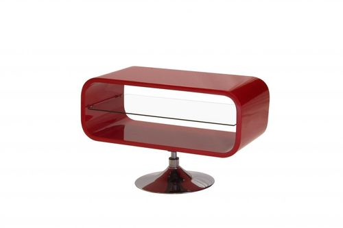 Red high gloss tv unit with glass shelf