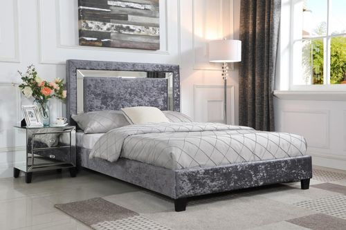 Silver crushed velvet double bed with mirror detail