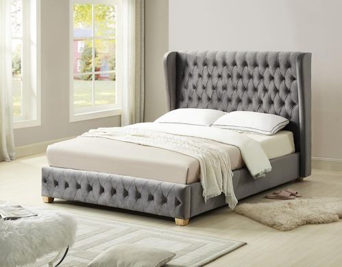 Grey velvet high headboard king size bed
