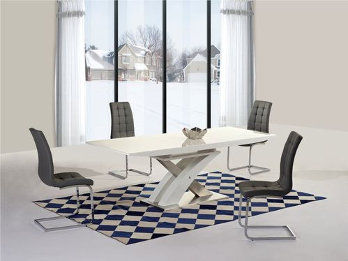 White high gloss 160cm dining table and 4 grey chairs
