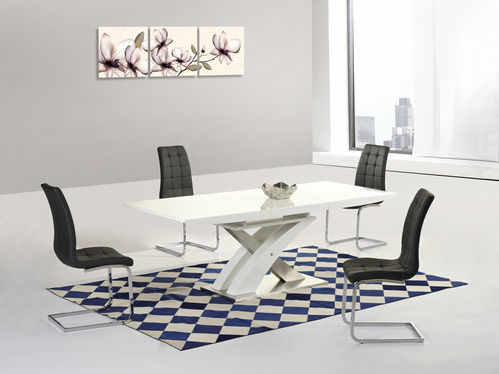 White high gloss 160cm dining table and 6 black chairs