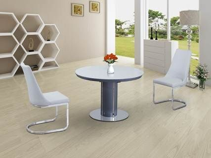 Round white glass dining table and 4 chairs