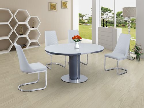 Round white glass dining table and 6 chairs