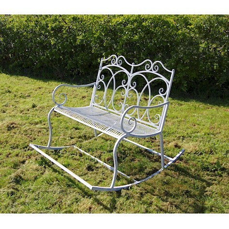 Cream rocking metal vintage garden bench