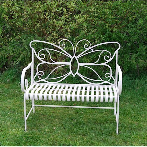 Cream butterfly metal garden bench