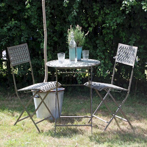 Vintage design blue rusty metal garden bistro set