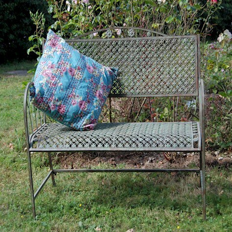 Vintage design blue rusty metal garden bench