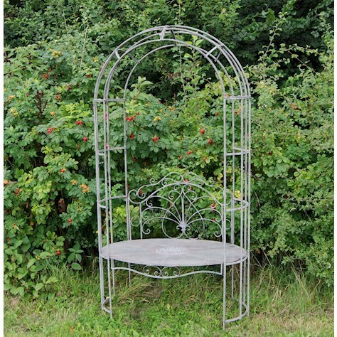 Antique grey metal garden arbour bench