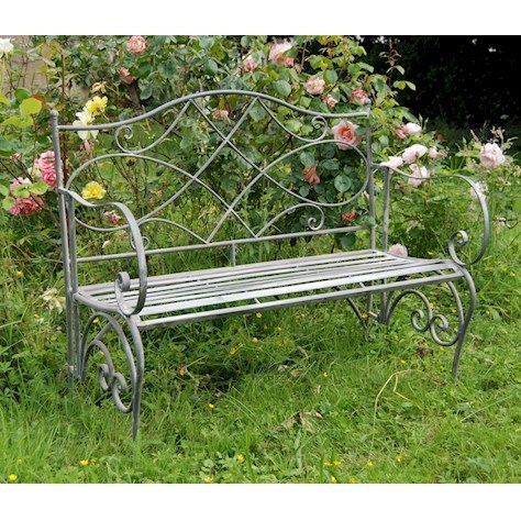 Antique grey vintage metal garden bench
