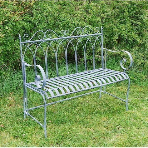 Vintage Lead grey metal garden bench