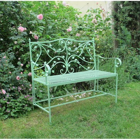 Vintage design green metal garden bench