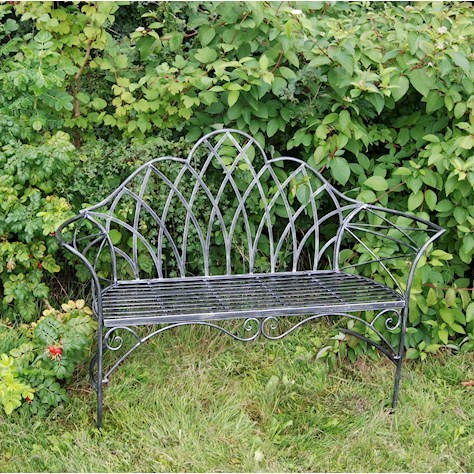 Edwardian black and silver metal garden bench