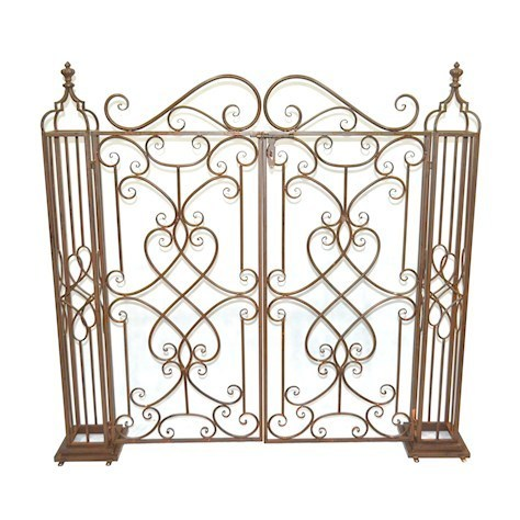 Rusty brown metal garden gates