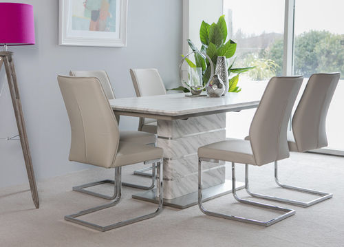 Extending white & grey marble effect dining table and 6 chairs