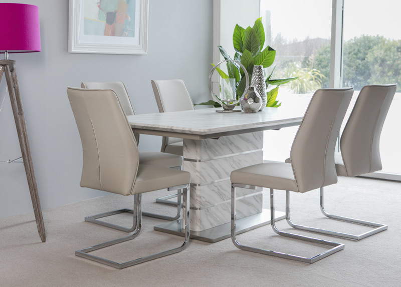 Extending white grey marble effect dining table sets ...
