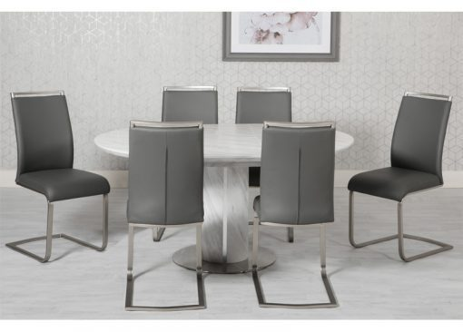 Round white & grey marble effect dining table set - Homegenies