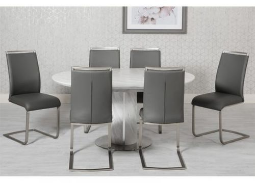 Round white & grey marble effect dining table and 6 chairs