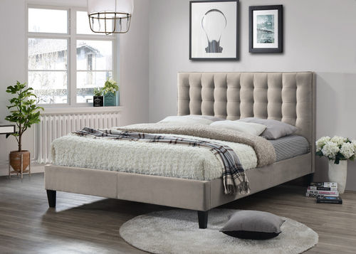 Champagne fabric kingsize bed