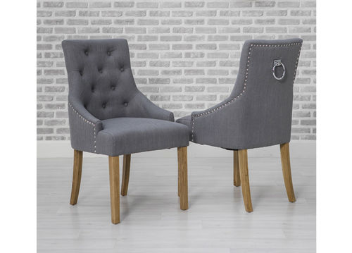 Pair of Grey Fabric Knocker Dining Chairs