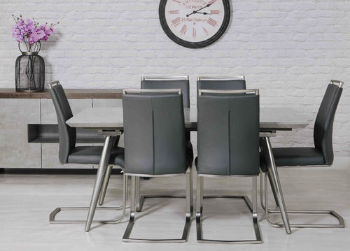 Grey Concrete Effect Dining Table and 6 Chairs
