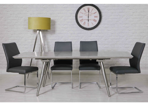 Extending Concrete Effect Dining Table and 6 Grey Chairs