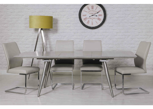 Extending Concrete Effect Dining Table and 6 Taupe Chairs