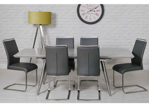 Extendable Grey Concrete Effect Dining Table and 6 Chairs