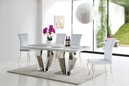 Grey marble dining table and 6 velvet chairs