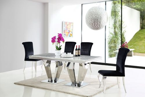Grey marble dining table and 6 black velvet chairs