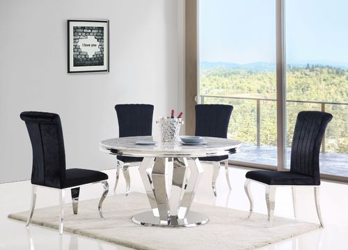 Round grey marble dining table and 4 black velvet chairs