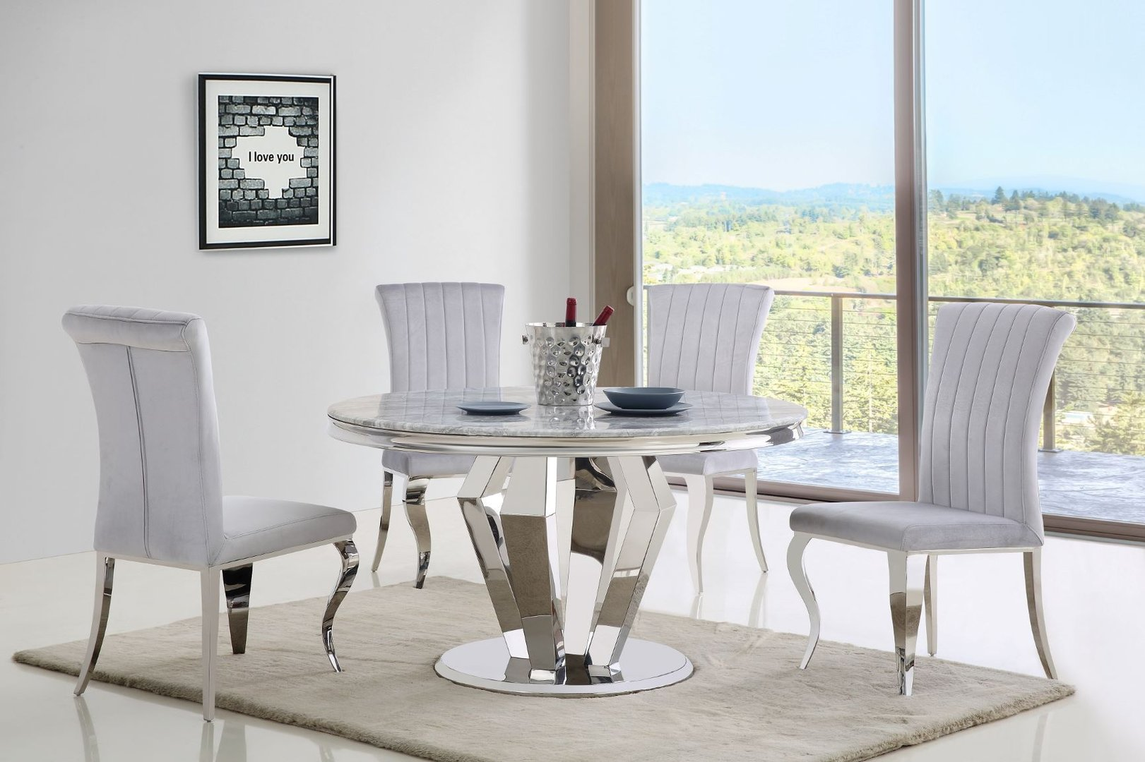 Round Grey Marble Dining Table And 4 Velvet Chairs Homegenies