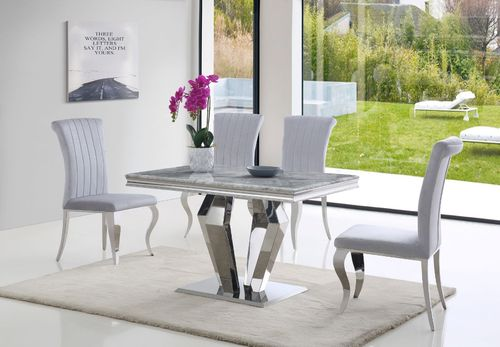 Grey 120cm marble dining table and 4 velvet chairs