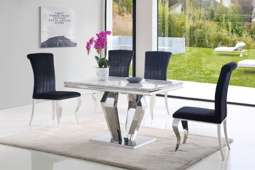 Grey 120cm marble dining table and 4 black velvet chairs