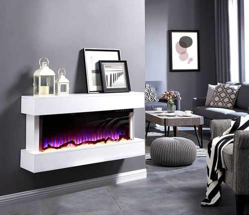 50inch wall mounted mantel electric LED fire in White