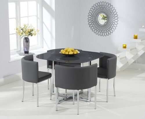Spacesaver Grey glass dining table and 4 chairs