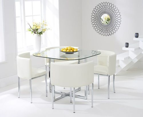 Spacesaver glass dining table and 4 cream chairs