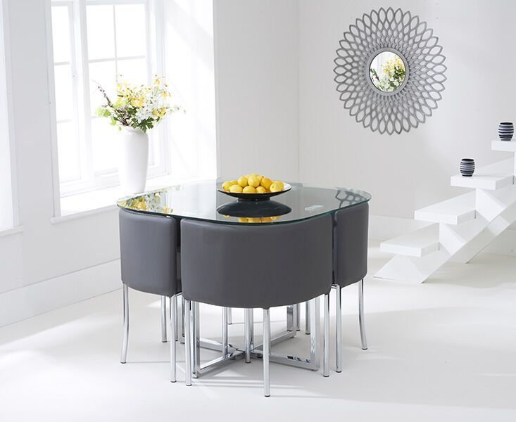 Spacesaver Clear Glass Dining Table 4 Grey Chairs Homegenies